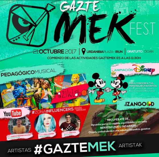 GazteMek: taller didáctico musical y personajes Disney este sábado en Irun